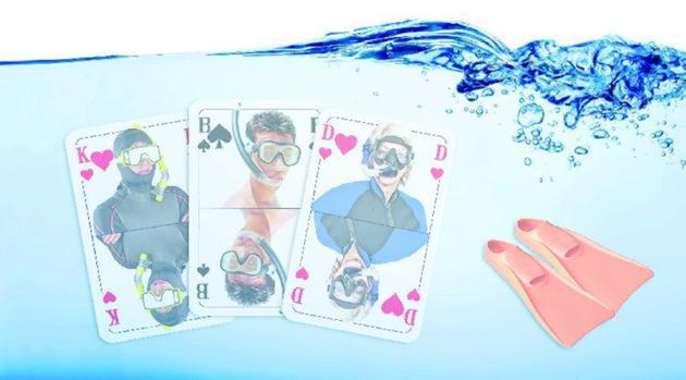 Spielkarten unterwasser