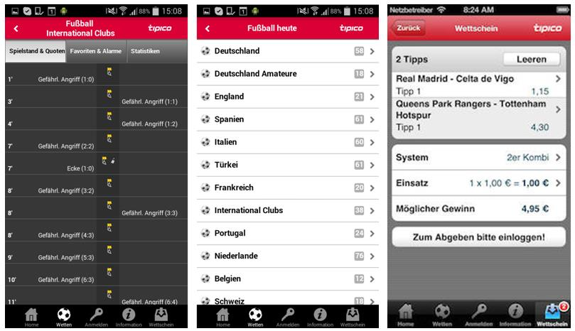 Screenshot der App des Sportwettenanbieters tipico