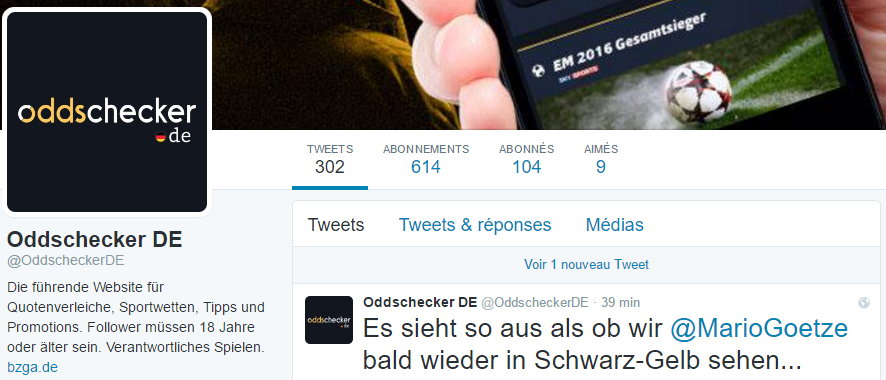 OddscheckerDE TW screenshot