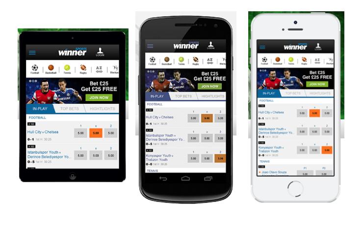 winner casino mobile app screenshot