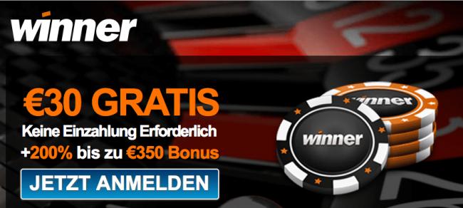 Winner Gutschein Code 2017: 200% Bonus und bis zu 350 € gewinnen