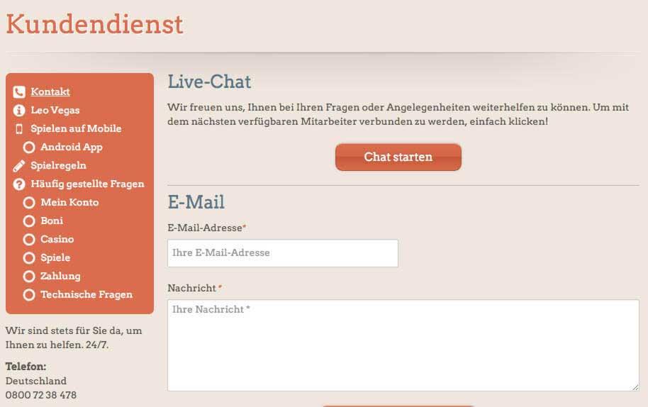 leovegas-kundenservice screenshot