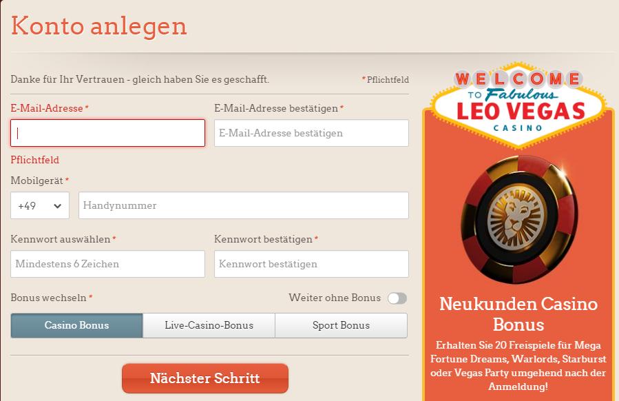 leoVegasRegisrtrierung screenshot