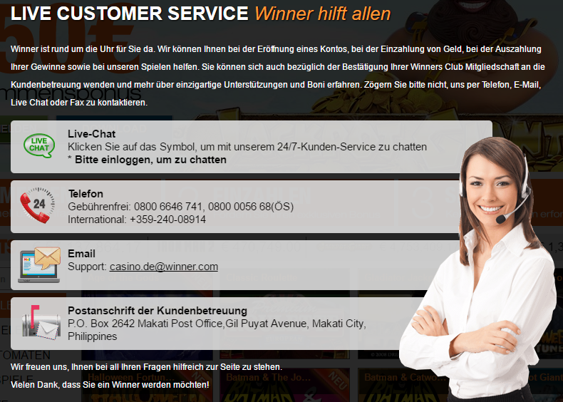 winner kundendienst screenshot