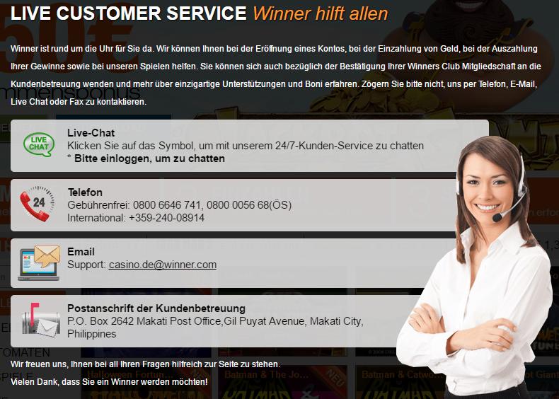 winner kundendienst screenshot