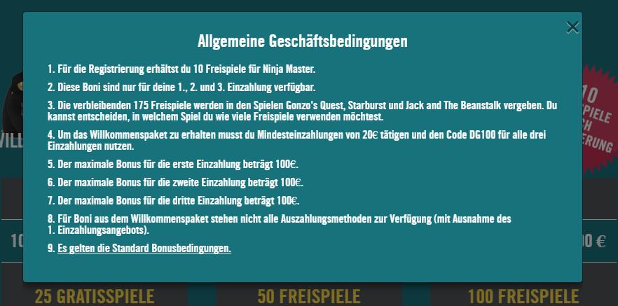 drueckglueck bonusbedingungen screenshot