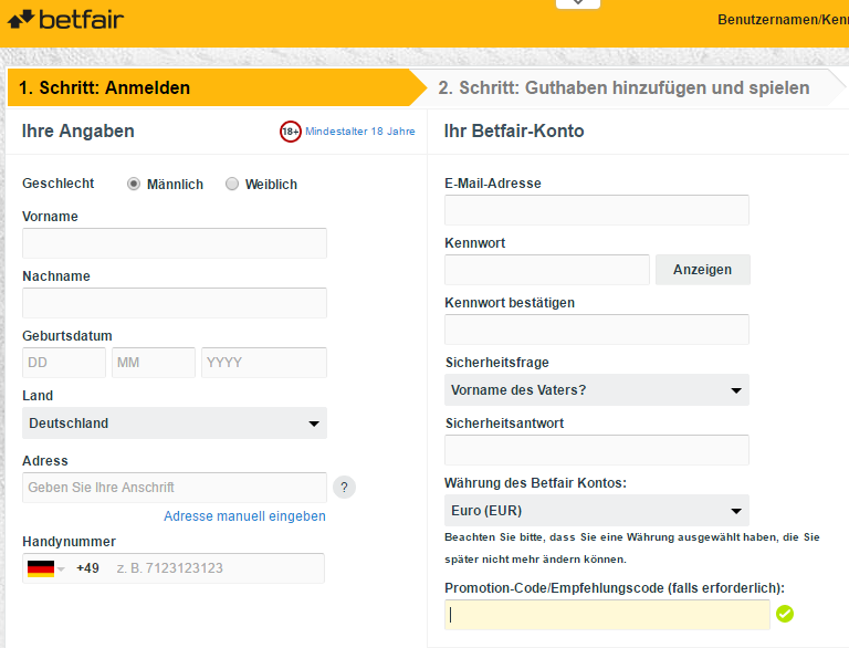 betfair registrierung