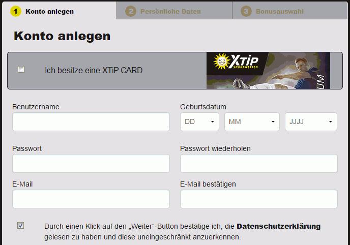 x-tip-registrierung