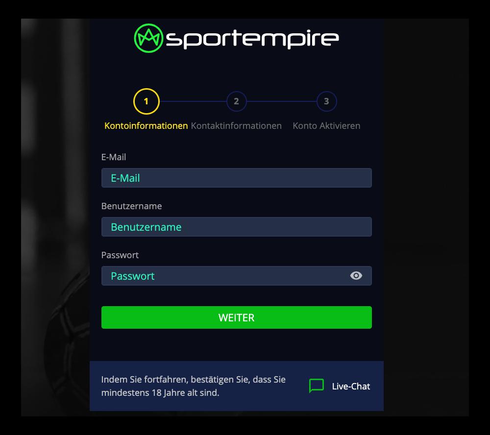 registrierung sportempire